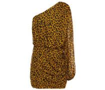 One-shoulder Draped Leopard-print Silk-chiffon Mini Dress Animal Print Size 0