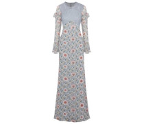 Lace-paneled floral-print chiffon gown
