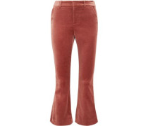 Cotton-blend Velvet Bootcut Pants Antique Rose