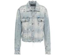 Distressed Painted Denim Jacket Light Denim