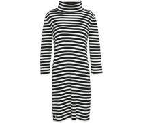 Woman Striped Cotton-blend Turtleneck Mini Dress Black
