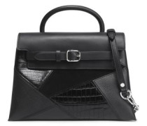 Suede-paneled croc-effect, textured and smooth leather shoulder bag