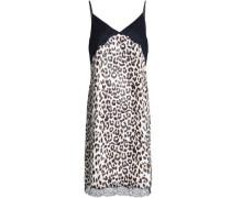 Lace-paneled leopard-print satin dress