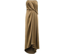 Strapless Draped Satin-crepe Gown Brass Size 0