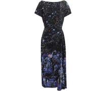 Crystal-embellished printed silk dress