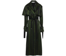 Striped Satin Trench Coat Forest Green