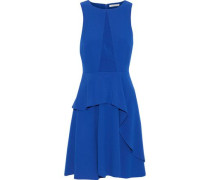 Satin-paneled Ruffled Crepe Dress Royal Blue