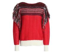 Fringe-trimmed Cotton-blend Jacquard Sweater Red