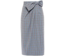 Wrap-effect Checked Woven Skirt Anthracite