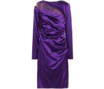 Woman Draped Tulle-paneled Duchesse-satin Dress Purple