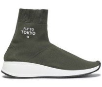 Stretch-knit High-top Sneakers Army Green