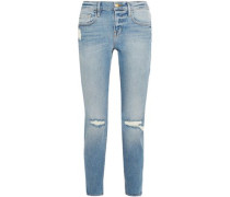 Le Boy Cropped Distressed Mid-rise Slim-leg Jeans Mid Denim