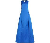 Pleated ruffled duchesse-satin gown