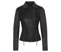 Nancy ring-embellished snake-effect leather biker jacket