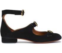 Buckled Suede Ballet Flats Black