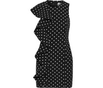 Kimberlin Ruffled Polka-dot Cady Mini Dress Black Size 0