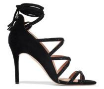 Serena Crystal-embellished Suede Sandals Black