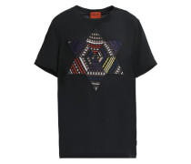 Crochet knit-appliquéd silk T-shirt