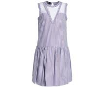Lace-paneled Striped Cotton-poplin Dress Light Blue