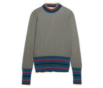 Striped Intarsia-knit Sweater Grey Green