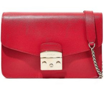 Woman Metropolis Textured-leather Shoulder Bag Red