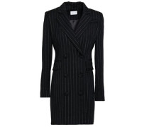 Double-breasted Metallic-trimmed Pinstriped Wool-blend Crepe Blazer Black