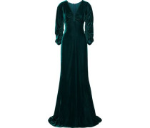 Woman Ruched Velvet Gown Petrol