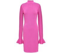 Stretch-knit Turtleneck Mini Dress Fuchsia