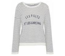 Verbina Printed Striped Stretch-knit Sweater White