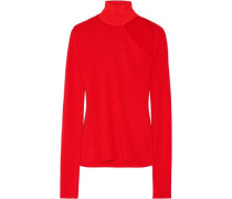 Woman Cutout Merino Wool-blend Turtleneck Top Tomato Red