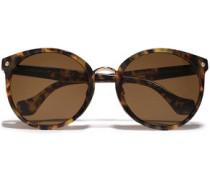 Round-frame Tortoiseshell Acetate Sunglasses Brown Size --