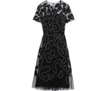 Appliquéd Tulle Dress Black