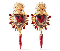 Gold-tone, Crystal And Resin Clip Earrings Gold Size --