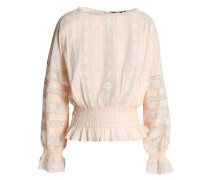 Lace-trimmed shirred cotton-mousseline blouse
