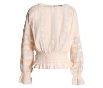Lace-trimmed Shirred Cotton-mousseline Blouse Blush