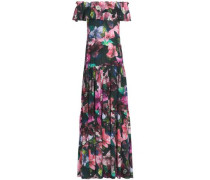 Off-the-shoulder Gathered Printed Silk Gown Multicolor