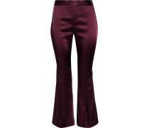Woman Satin-twill Kick-flare Pants Purple