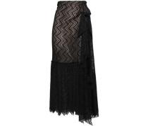 Knotted Draped Lace Midi Skirt Black