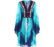 Lace-up Printed Silk-georgette Dress Blue