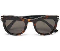 Cat-eye tortoiseshell acetate and silver-tone sunglasses