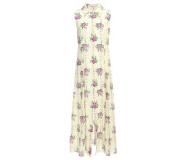 Celia Floral-print Silk Crepe De Chine Midi Dress Cream