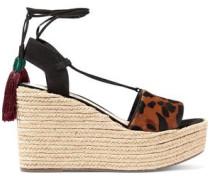 Lila Leopard-print Calf Hair Wedge Espadrille Sandals Animal Print