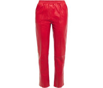 Woman Alva Striped Leather Straight-leg Pants Tomato Red