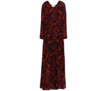 Printed Chiffon Maxi Dress Red