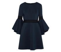 Crochet-trimmed Ponte Mini Dress Midnight Blue