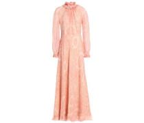 Ruffle-trimmed printed silk-georgette maxi dress