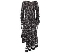 Asymmetric Ruched Printed Silk-satin Twill Dress Black