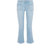 Cropped distressed mid-rise bootcut jeans