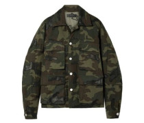 Leather-appliqued Camouflage-print Cotton-canvas Jacket Army Green