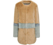 Two-tone Faux Fur Coat Sand Size 12